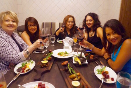 A toast with the girls: L-r: @JulynsBling, @NancyLoo, @MJTam, @JustDwana, & @DuongOnine